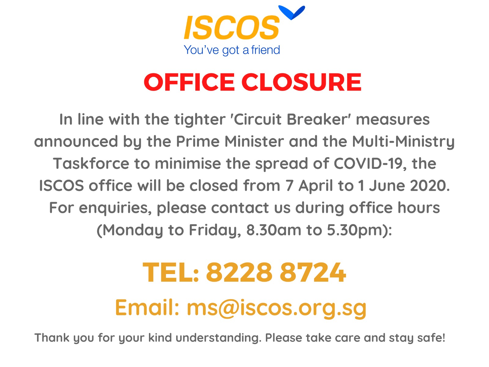 ISCOS office closure