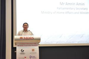 Mr Amrin Amin giving speech
